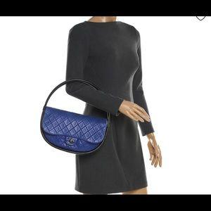 2013 RUNWAY QUILTED HULA HOOP LAMBSKIN BLUE BAG